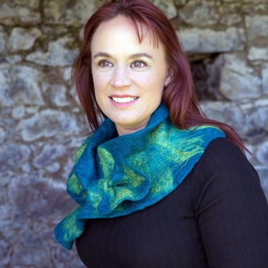 Ruffle Collar Scarf teal colour, gifts for women, made in Ireland