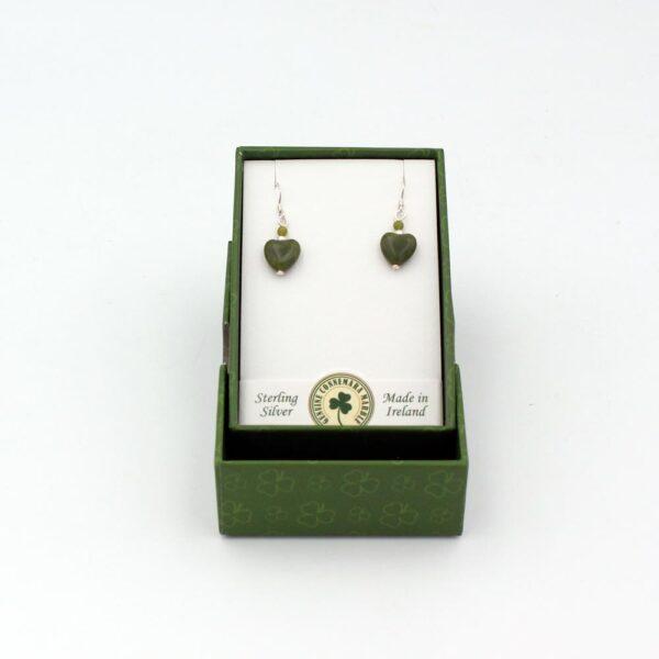 Connemara Marble Heart Earrings made in Ireland