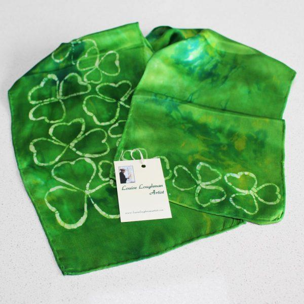 Green shamrock scarf, silk scarf, handmade in Ireland by Louise Loughman
