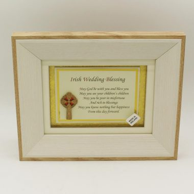 Irish Wedding Blessing Poem with 3D Celtic Cross in a wooden frame, lovely Irish wedding gifts