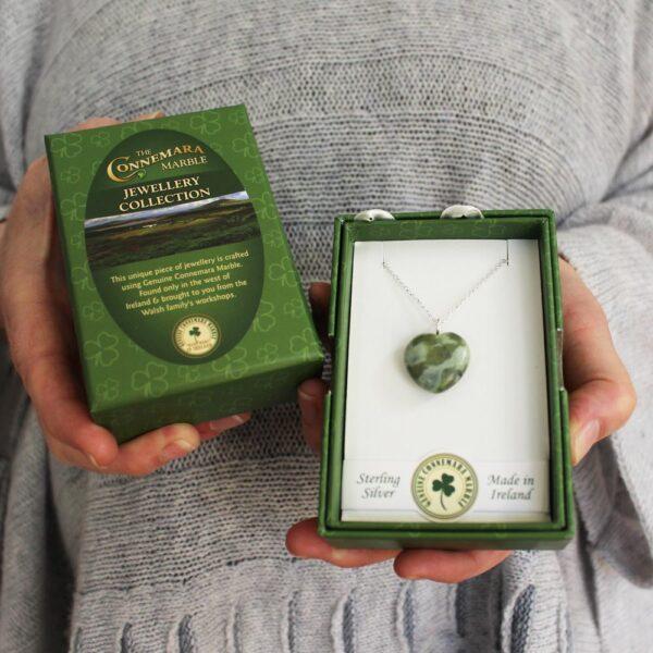 Irish gifts for women Connemara Marble Heart Pendant