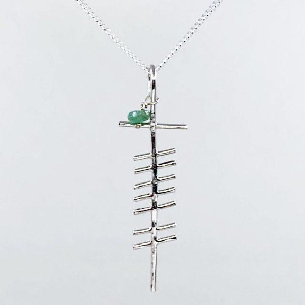 Gra Ogham Emerald sculptured silver pendant, handmade in Ireland