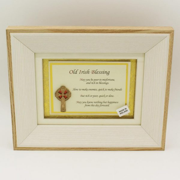 Old Irish Blessing with 3D Celtic Cross, print in wooden frame