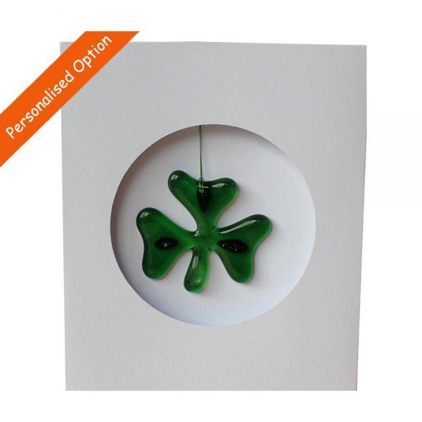 Shamrock card, handmade fused glass, made in Ireland