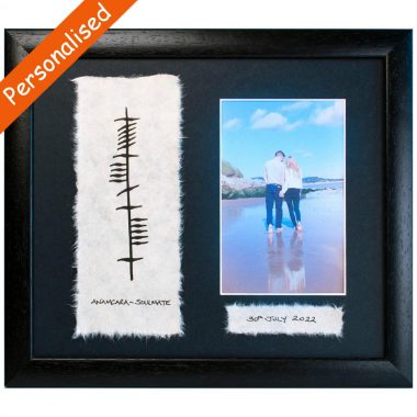 soulmate ogham photo frame, option to personalise, handpainted by Ogham Wishes