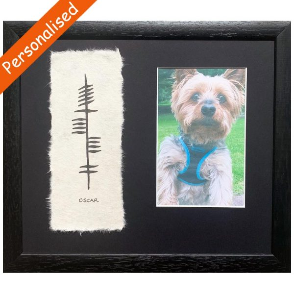 Pet Ogham Photo Frame, lovely gifts for pet owners, handmade by Ogham Wishes