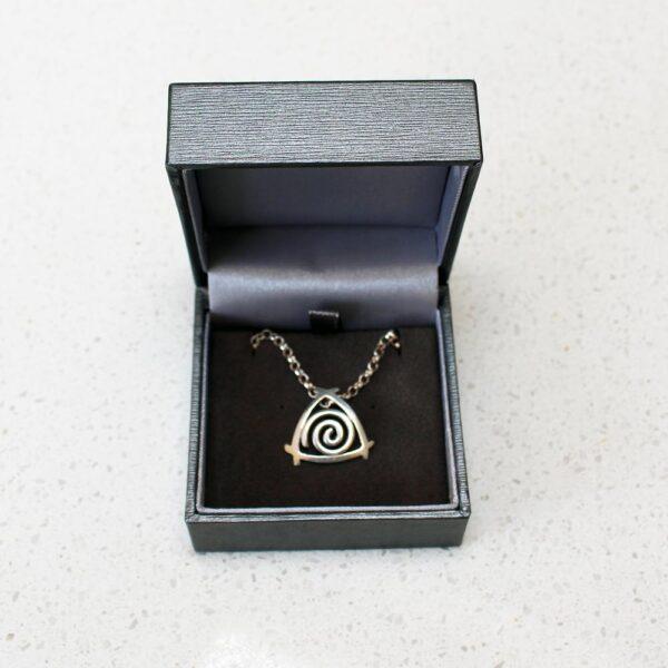 Newgrange Spiral Silver Pendant by Arnua Jewellery, handmade in Ireland