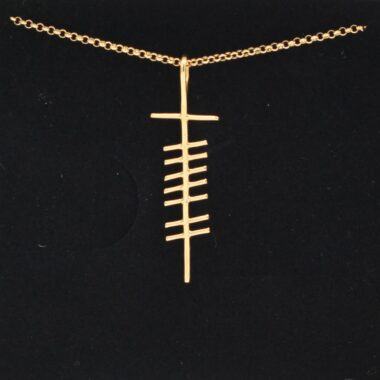 Love Ogham Gold Pendant, handmade in Ireland by Ogham Treasures