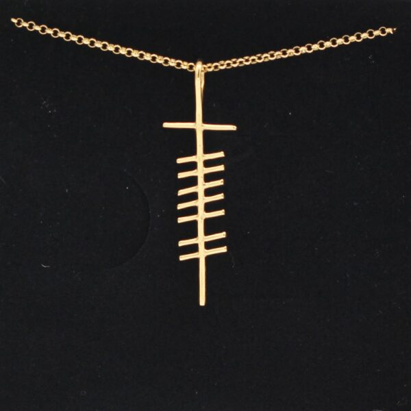 Love Ogham Gold Pendant, handmade in Ireland by Ogham Treasures