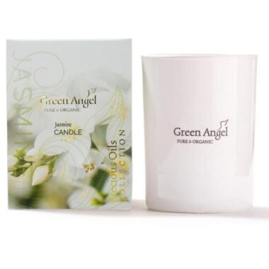 Green Angel Jasmine Candle, made in Dublin, soy wax candle, 55 hour burning time