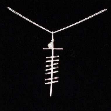 Ogham Pearl Silver Pendant, handmade in Ireland by Ogham Treasures