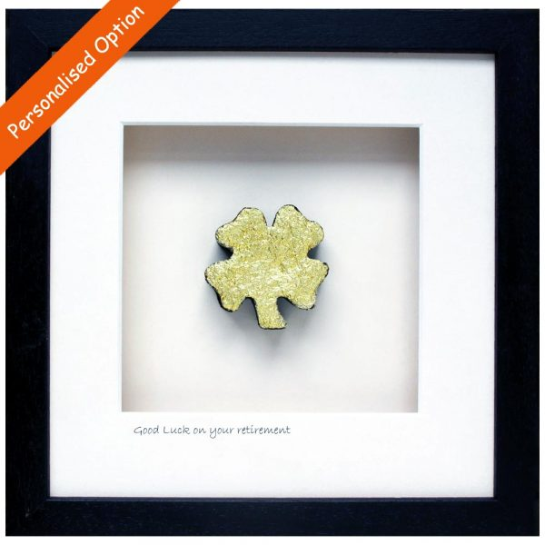 four leaf clover retirement gift, shape cut from peat bog, made in Ireland