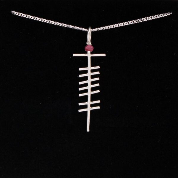 Ogham Ruby Silver Pendant, handmade in Ireland by Ogham Treasures