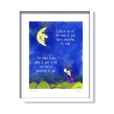 Moon and Me framed print, gifts for kids, signed by the artist, made in Ireland