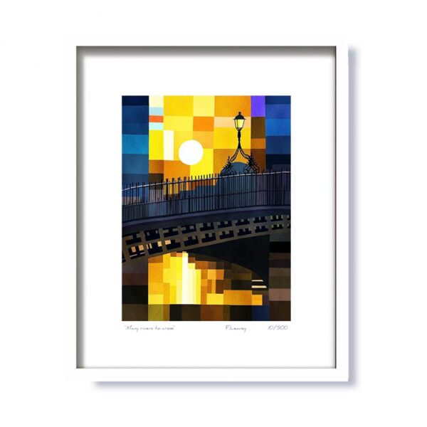 Ha'penny Bridge 'Many Rivers to Cross' Framed Print, contemporary abstract art, made in Ireland by Fab Cow