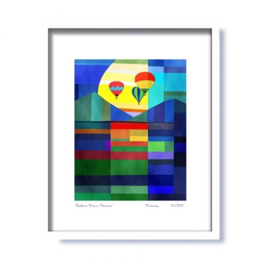 'Explore. Dream. Discover' Framed Print, signed by artist Fran Leavey, made in Ireland by Fab Cow