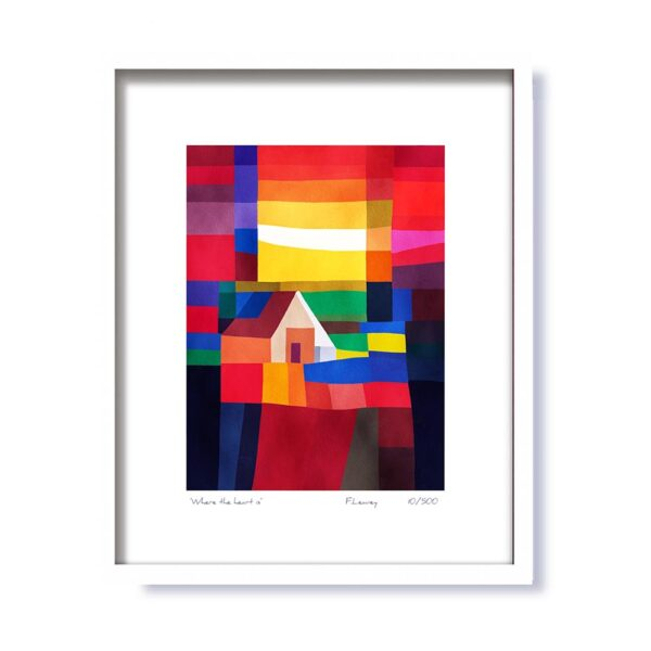 Where the heart is framed print, signed by artist Fran Leavey, made in Ireland