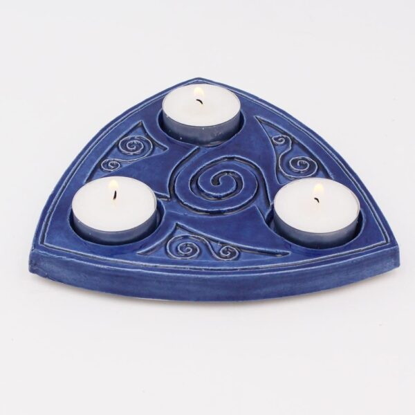 Triskele Candle Holder (Blue), for 3 t-lights or small candle quality, Irish pottery made in Ireland