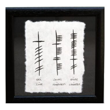 Love Happiness Laughter ogham gift made in Ireland