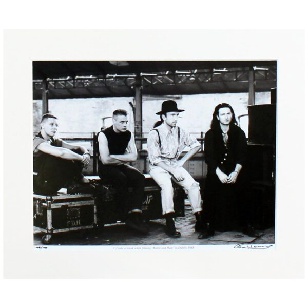 Photo print of U2 during their Rattle and Hum era, taken at the Point Depot, Dublin. Limited edition, signed by the photographer Colm Henry