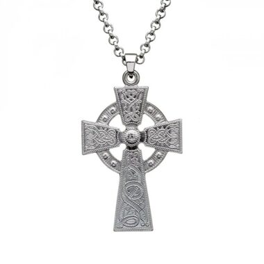 Silver Cross Necklace, Celtic Cross Necklace made in Ireland by Boru Jewelry