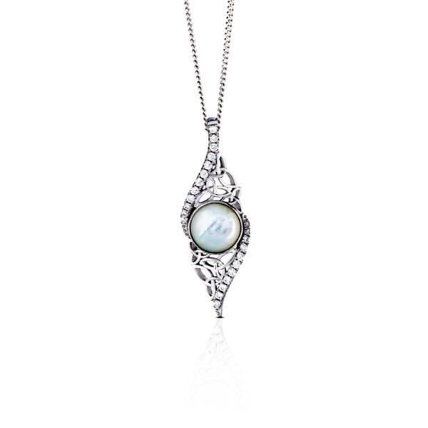 Trinity Pearl Necklace, freshwater pearl drop necklace, handmade in Ireland by Boru jewellery, 30 year wedding anniversary