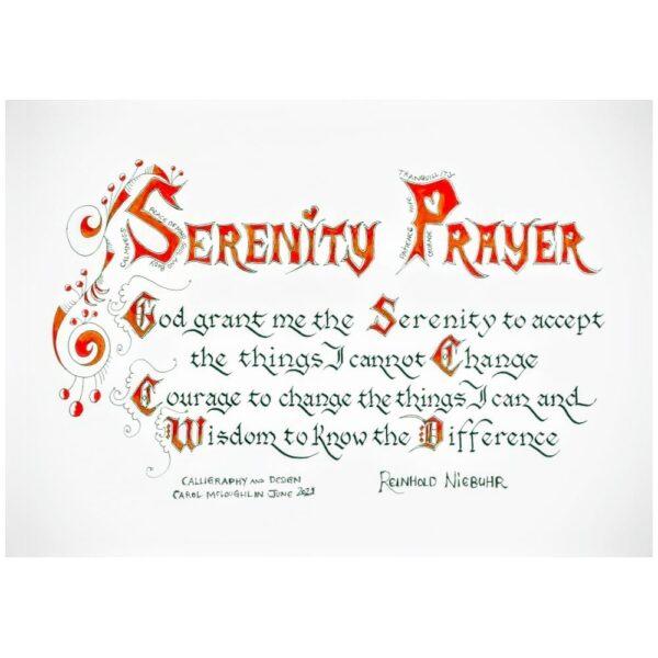 Serenity Prayer, god grant me the serenity, calligraphy print made in Ireland
