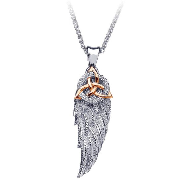 Angel Wing Necklace Silver and Gold Pendant, angel gift Trinity Knot, made in Ireland