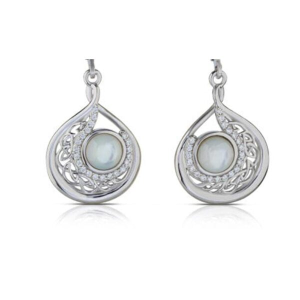 Beautiful pearl earrings with sterling silver and cubic zirconia stones, stunning pearl drop earrings, ideas for pearl wedding anniversary, pearl necklace and earring set for wedding made in Ireland by Boru Jewellery