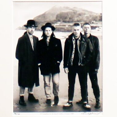 Photo print of U2 on Bray Head, Wicklow, Ireland, 1988. Limited edition and signed by photographer Colm Henry